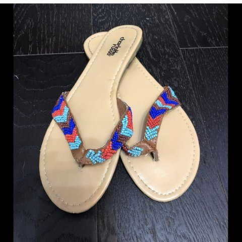 a714e26d3d2 Used .Super cute beaded Charlotte Russe summer sandals. to - Depop