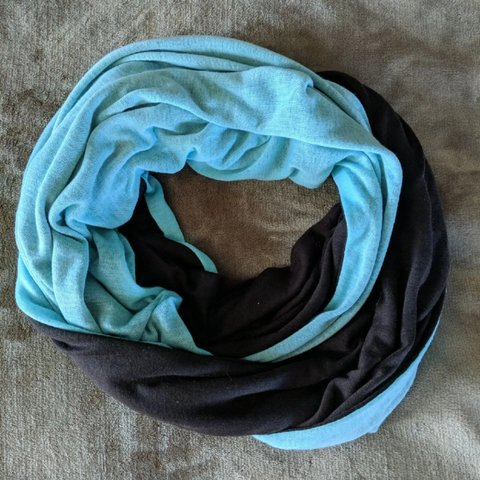 6c8deb34f6e83 Soft, brown and blue reversible infinity scarf to tie any is - Depop
