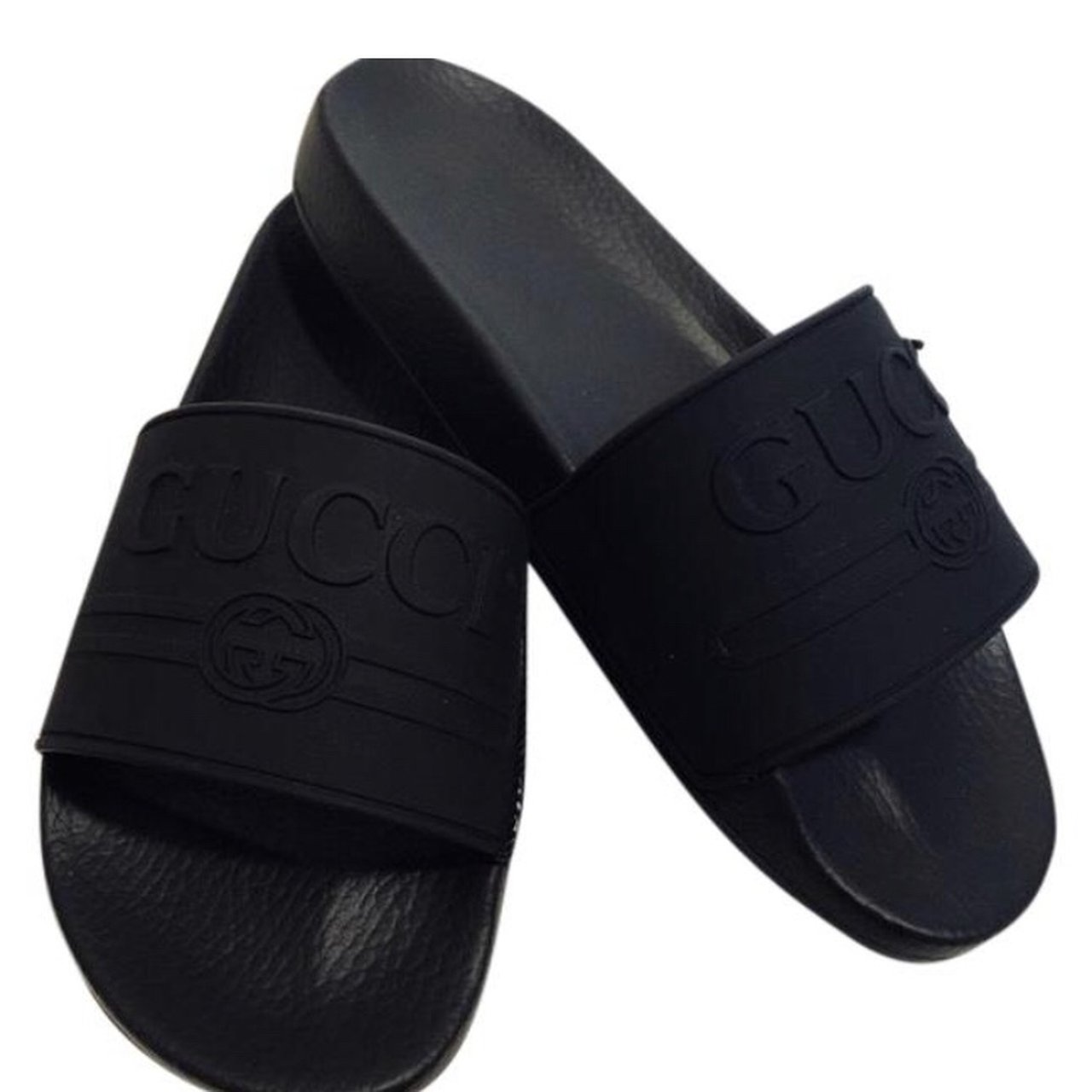 0bc04aa53 AUTHENTIC GUCCI rubber logo slides. NWT (new with tag)