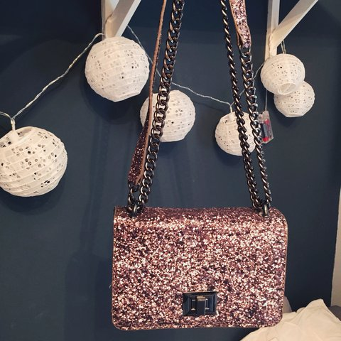 f094fcffeb1 Glitter ALDO bag chain like Chanel boy bag mini size city or - Depop