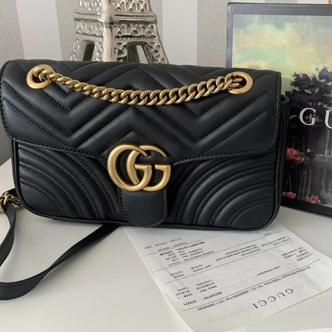 afe68e3b6789 100% authentic Gucci Marmont Black Bag With Receipt.. is no - Depop