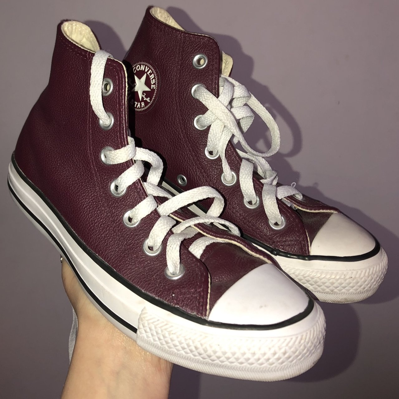 UK size 4 Burgundy, leather high top