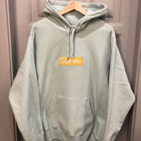 b22bbe92 Nearly mint condition supreme box logo hoodie ice blue. Worn - Depop