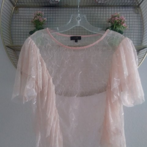 f3f1573d Pale pink floral lace crop top with ruffles. Never before - Depop