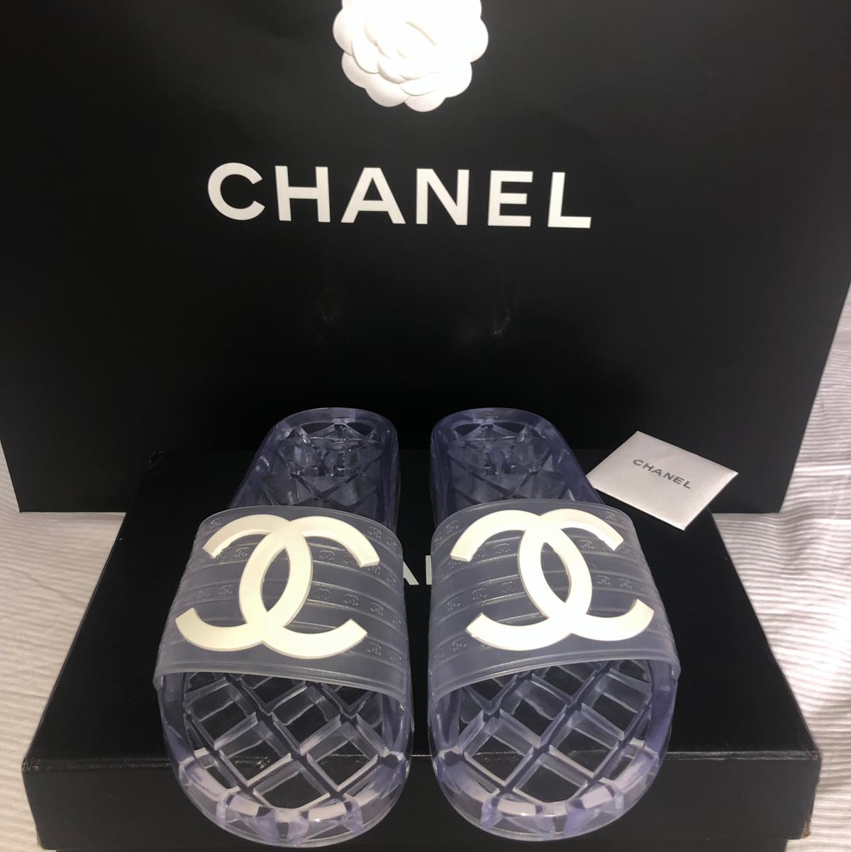 Chanel clear jelly slides size 38 Chanel Jelly    - Depop