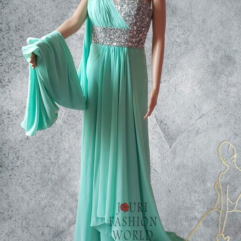 8449b2f05066 Green Pistachio Chiffon Maxi Dress with Crystal without tags - Depop