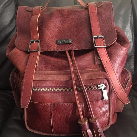 b3becc016 Dr martens large all leather backpack Cherry red beautiful - Depop