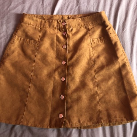 a0d05861d High waisted brown button-up skirt from H&M. Perfect for the - Depop