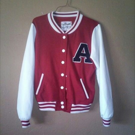 Red and white letterman jacket from Forever21  In    - Depop