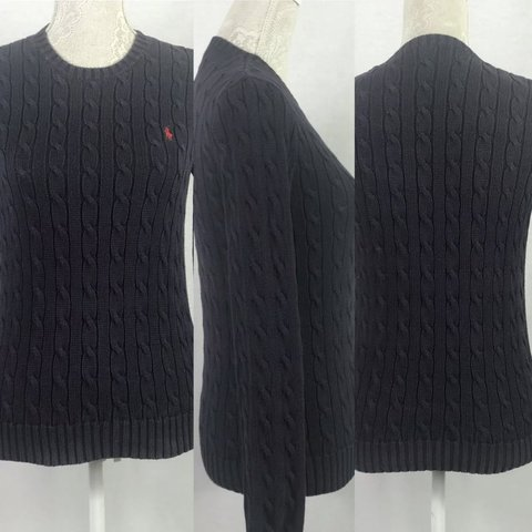 faf9523cf Ralph Lauren ladies cable knit jumper navy - shows some neck - Depop