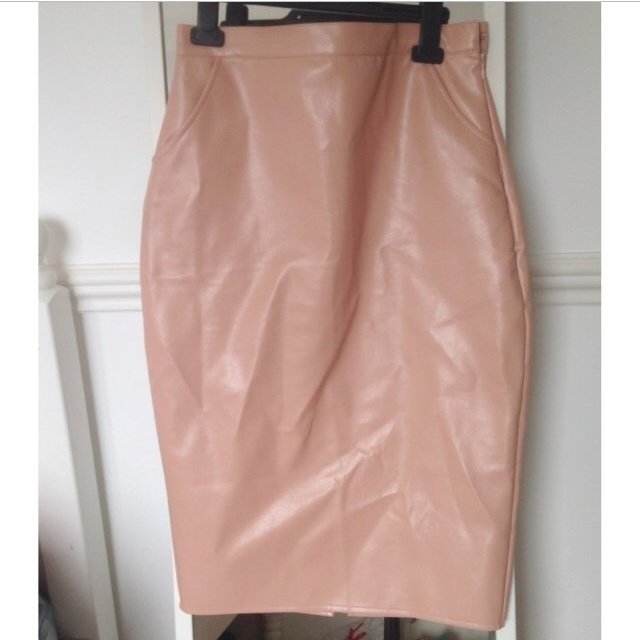 missguided faux leather skirt / nude / new with tags / size 10 - Depop