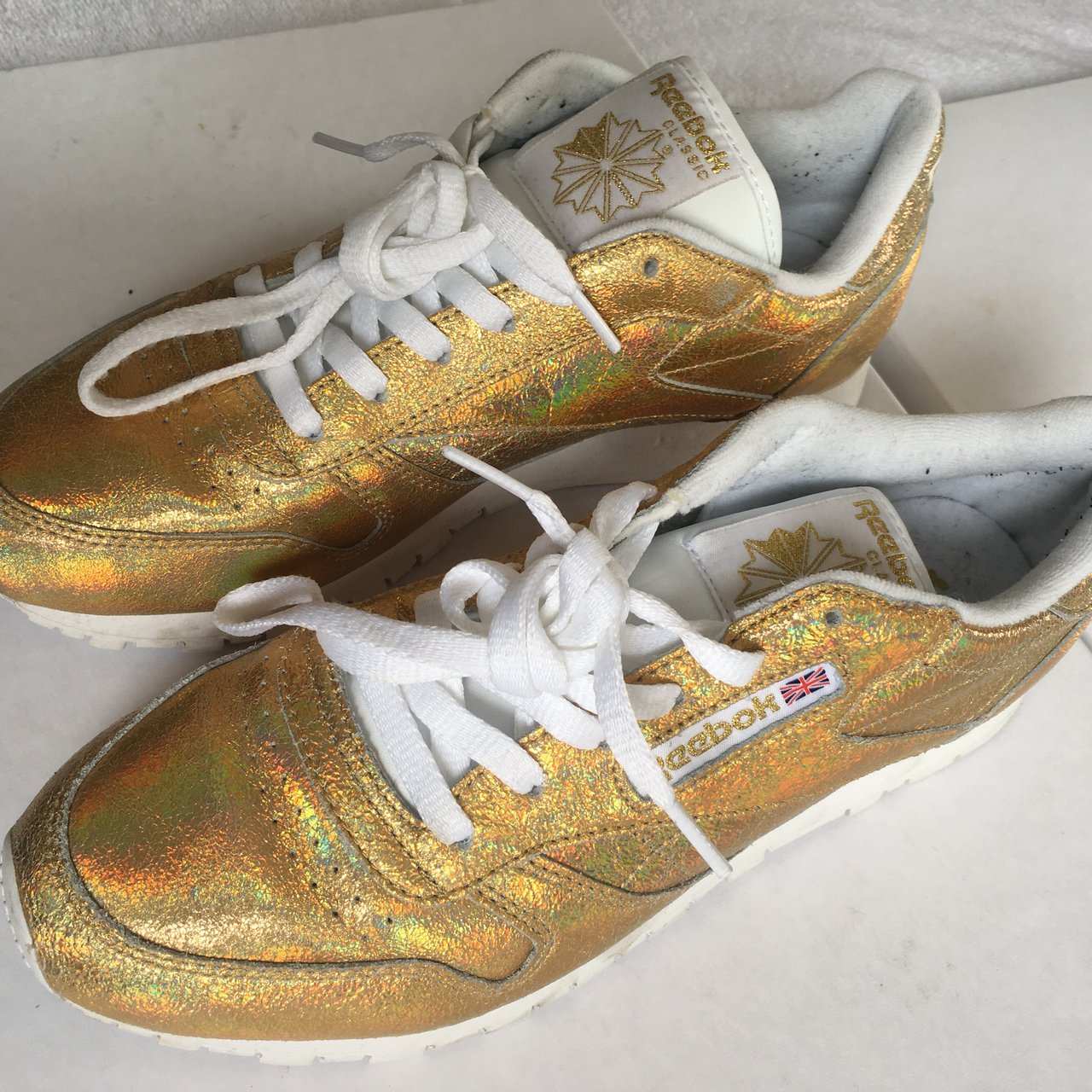 Iridescent gold Reebok trainers. Worn once a61f9bfe5ab4