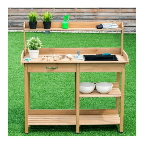 Awesome Potting Table Bench With Sink And Shelves For Depop Frankydiablos Diy Chair Ideas Frankydiabloscom