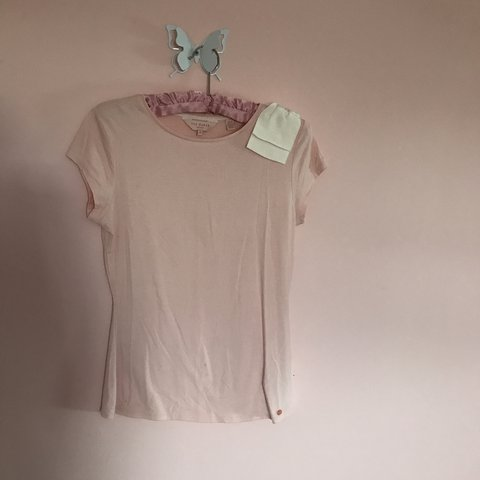 e1d538b76ecf0f Ted baker pale pink top with a white bow on the left Worn & - Depop