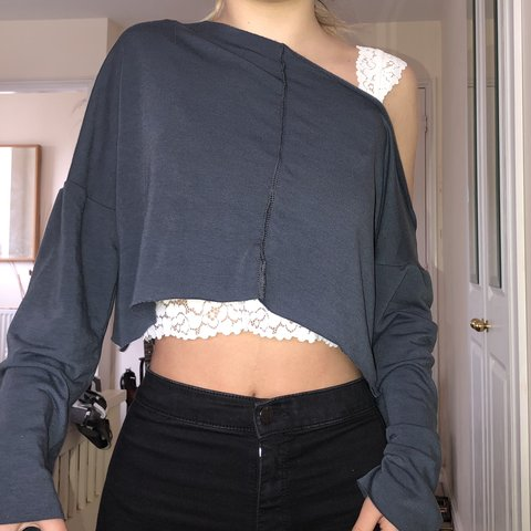 ab5daa62d9d @daisyshooterx. last month. Leicester, United Kingdom. Charcoal blue , off  shoulder sweater, Sold at £12 , selling for £10. From pretty little thing. Size  8