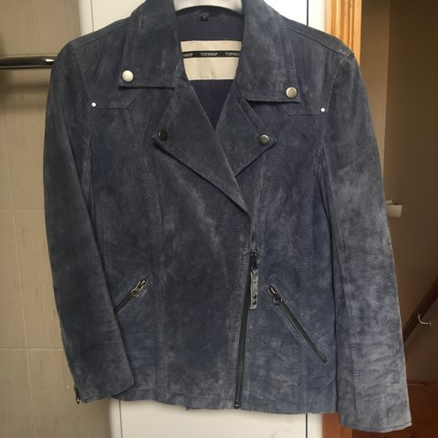 6ecf94485c0 Topshop real suede blue biker style jacket with 3 4 length - Depop