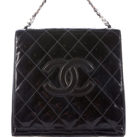 7dbc5847b74721 Chanel Handbag: Black quilted patent leather Black quilted - Depop