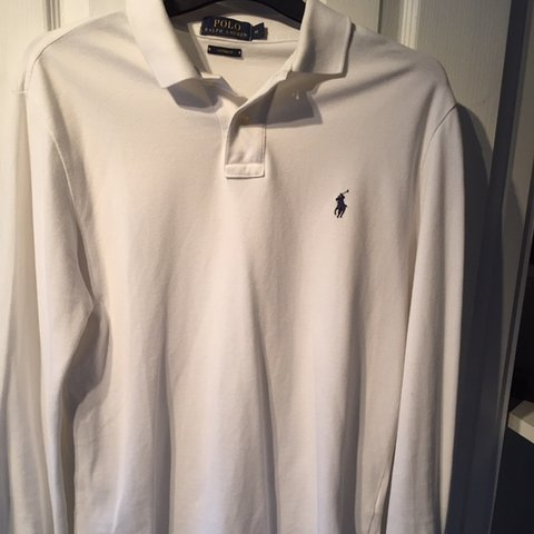 259d1a9e @danholland1. last month. Swadlincote, United Kingdom. Medium Custom fit  white men's Ralph Lauren long sleeve polo shirt ...