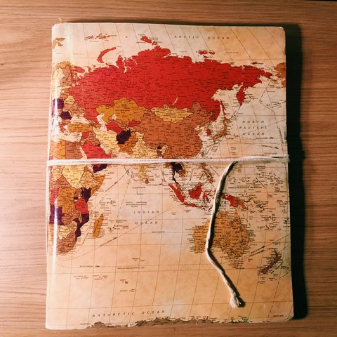 Lovely world map sketchbook scrap book bought years ago depop gumiabroncs Images