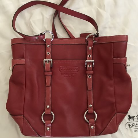 34e56f5bb2eb6 Red, leather coach purse with brown interior and multiple in - Depop