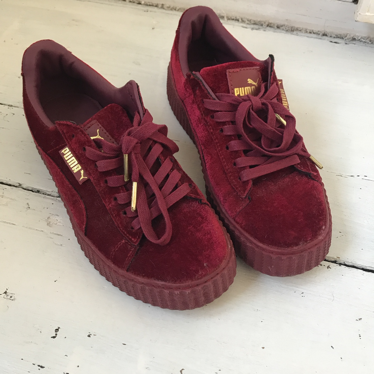 online retailer 42868 9fbe0 Puma fenty by Rihanna creeper trainers red velvet... - Depop
