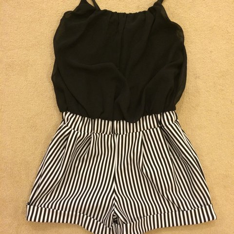 5377ac75986e Cameo rose Playsuit black stripe shorts with black silky 10 - Depop