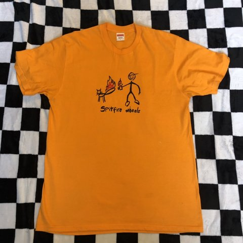 c21787a72a93 Supreme x Spitfire Wheels Cat T Shirt. Size large. Orange i - Depop
