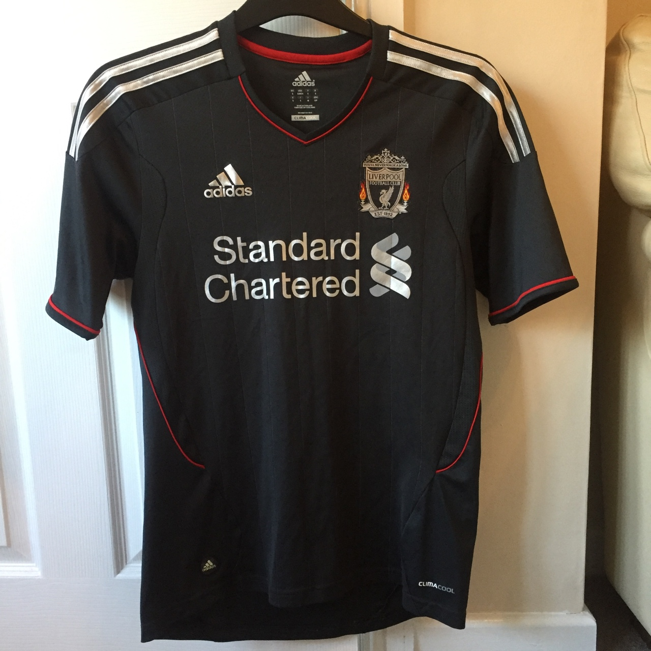 low priced 2d436 19ba6 Small size black and grey Liverpool FC away kit... - Depop