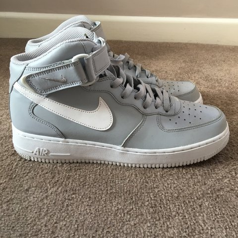 6c3f900544 Grey Nike Air Force 1 high-tops with Velcro strap Size 8 Go - Depop
