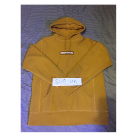 fa01b1827222 supreme royal gold box logo hoodie. size large. 8 10 - Depop
