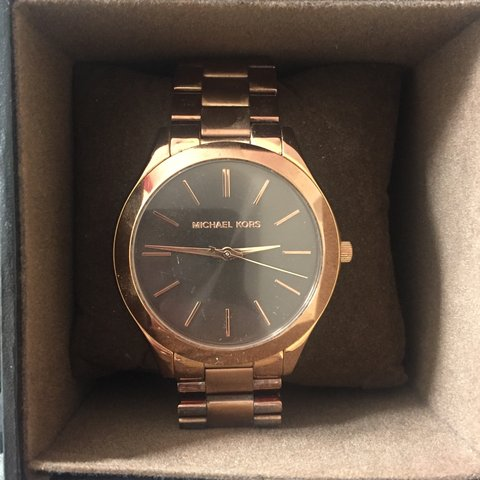 3e4c2c4549 Black Michael kors watch in box! Few scratches but hardly So - Depop