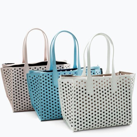 a0b439b1 Zara perforated mini shopper bag in baby blue available used - Depop