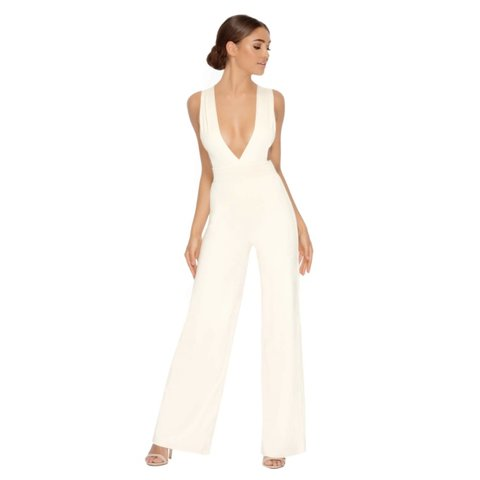d79e586f96 White wide leg plunge oh polly jumpsuit