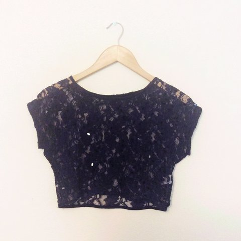b11cccf351f6c RIVER ISLAND navy blue lace crop top with sequins