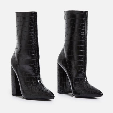 1d56cb8457 Block Heel Ankle Boot In Black Croc Faux Leather From EGO - Depop