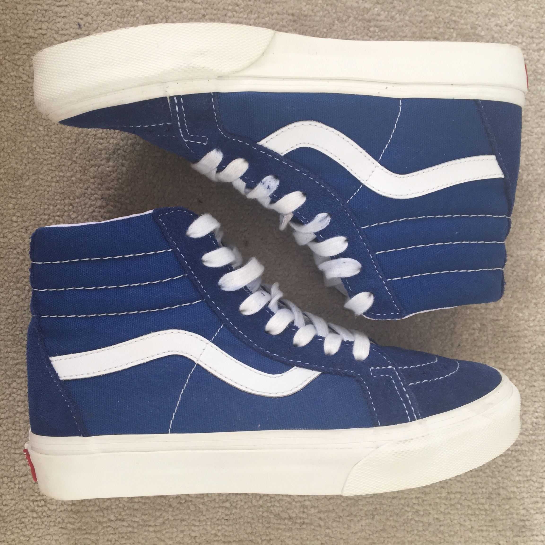 Royal Blue High Top Vans, Partly suede