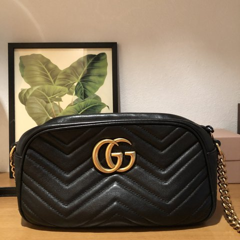 25cdcc6dedd Gucci GG Marmont black matelassé leather. Size small 24cm  - Depop