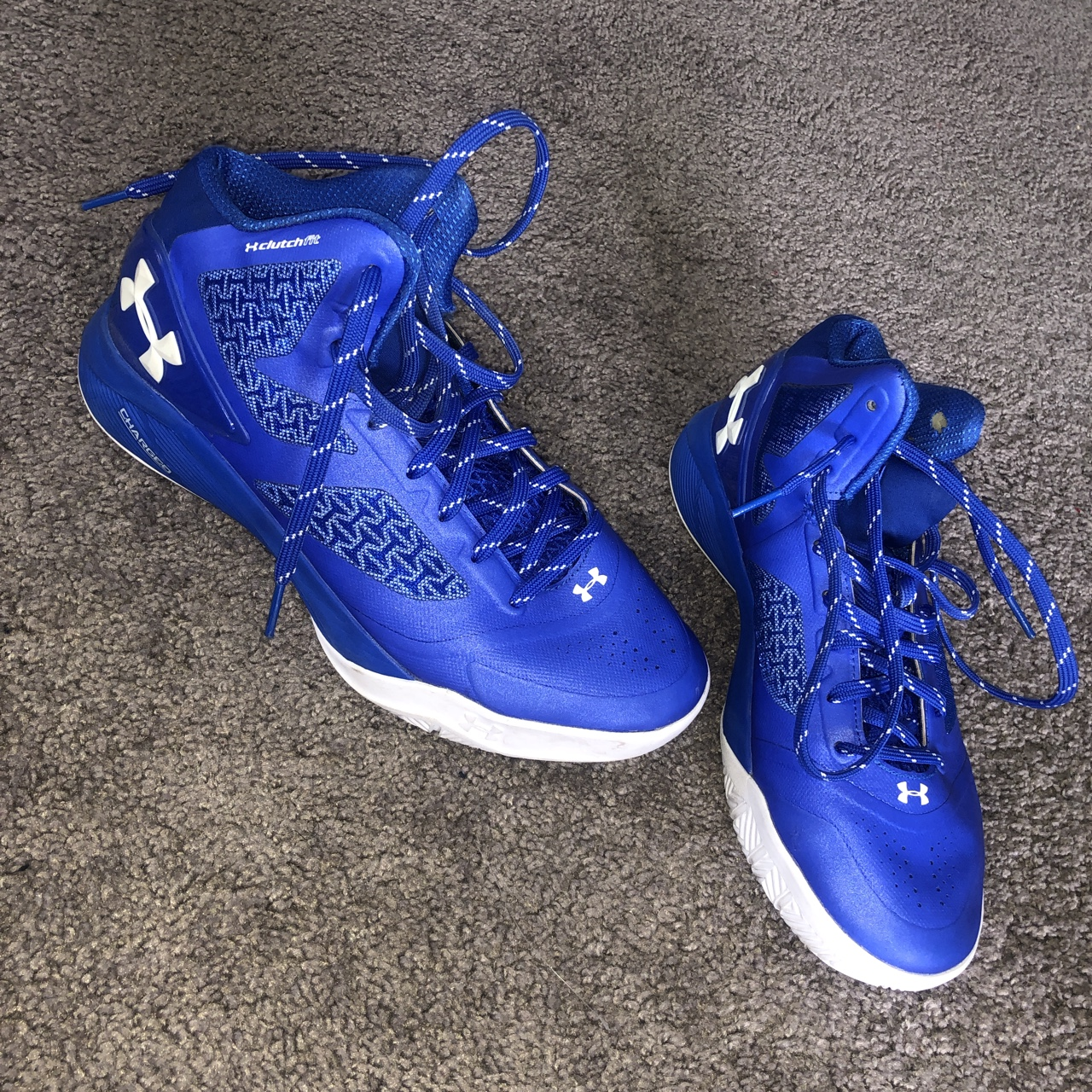 ce388c3e74 Blue and white Under Armour Basketball shoes Only... - Depop