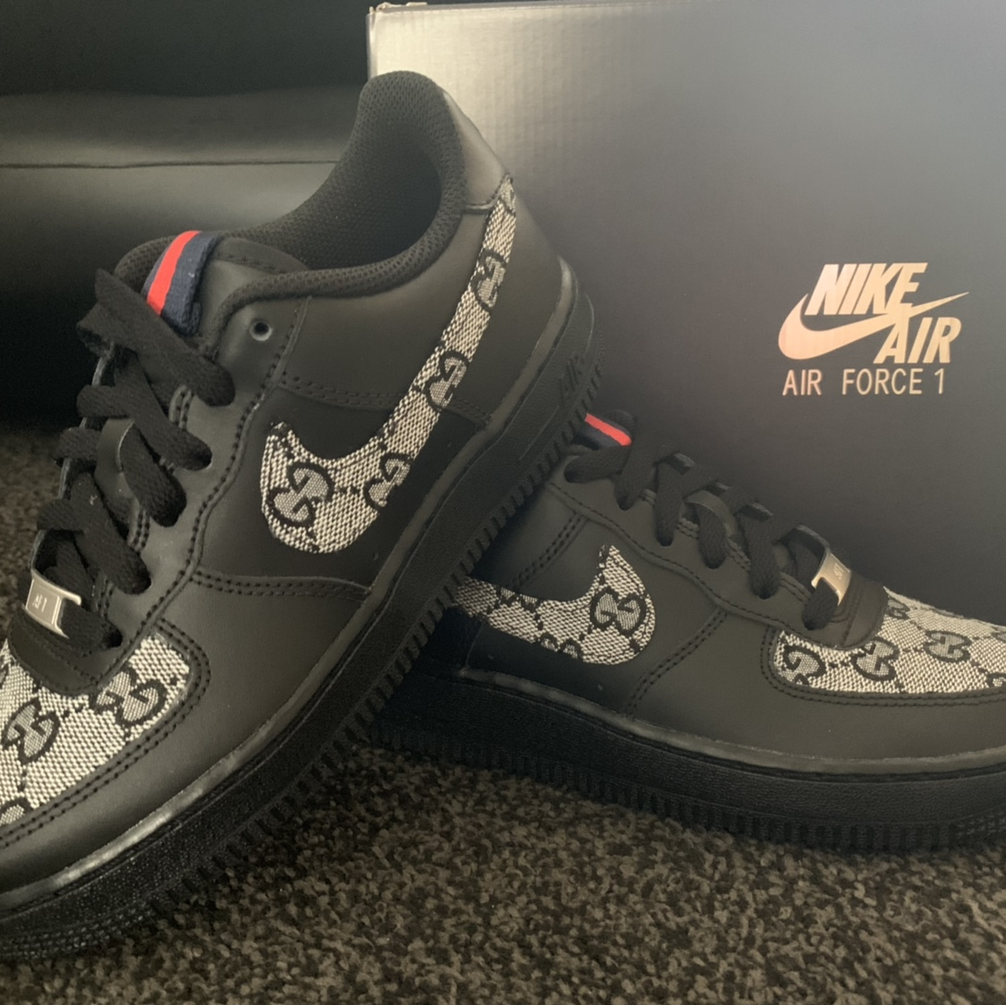 Black Monochrome Gucci Nike Air Force 1. Made to , Depop