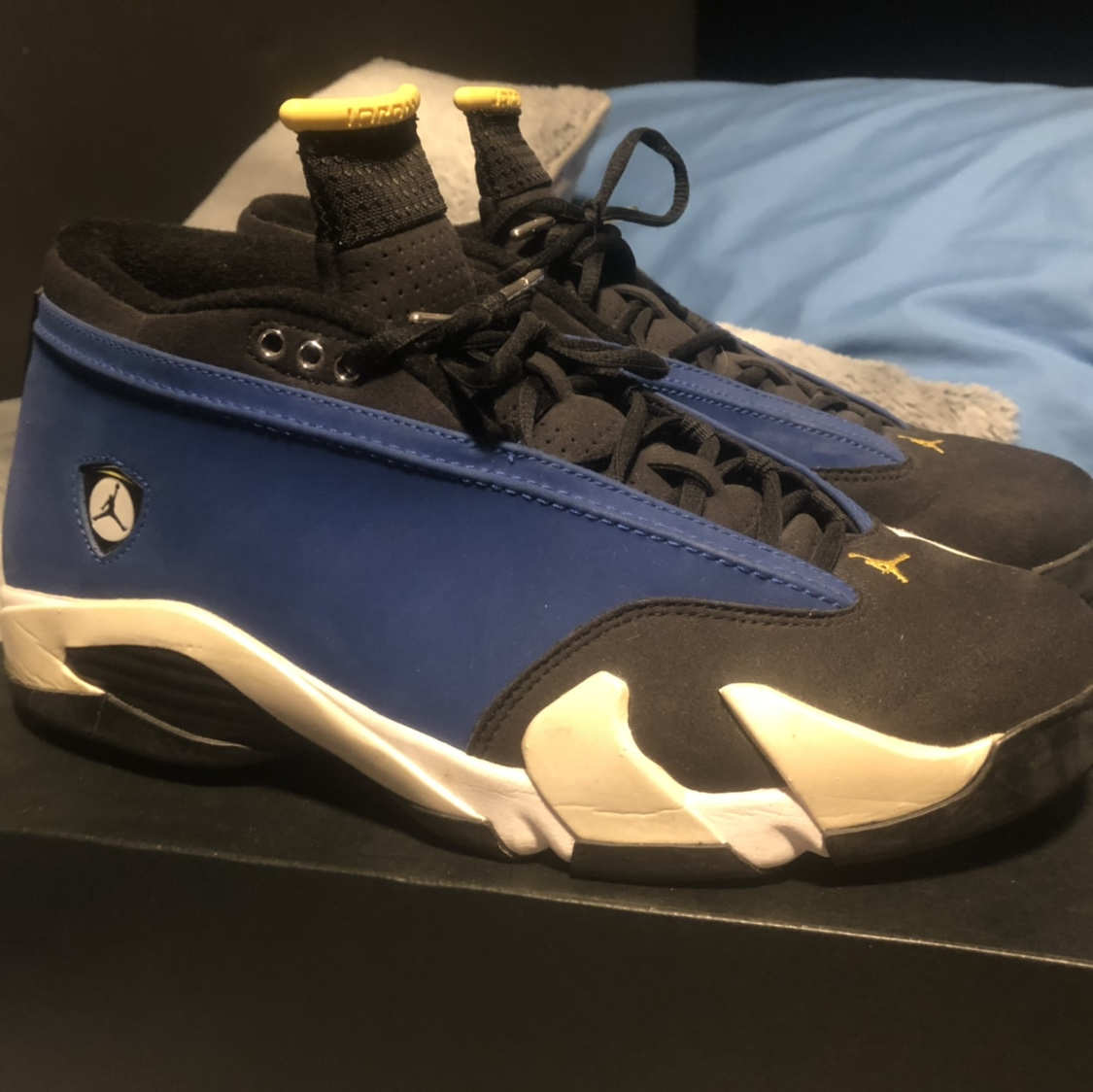 online retailer e5f1a 49347 Blue and Yellow Laney 14s barely worn! - Depop
