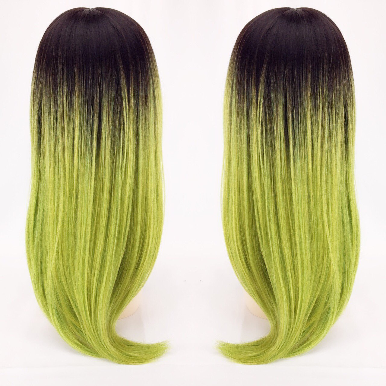 Layered Dark Brown To Lime Green Ombre Wig With Deep Part Depop