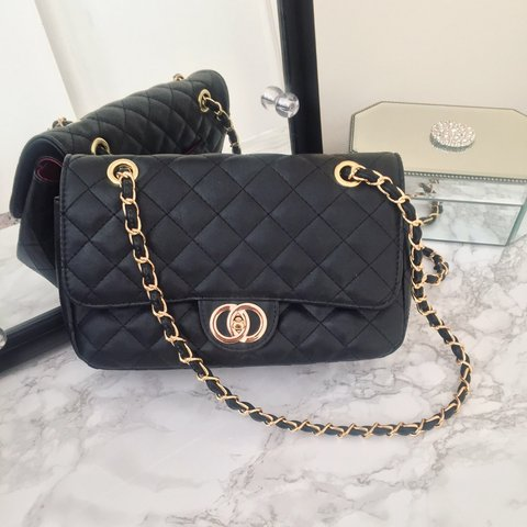 c27e811f116 BRAND NEW WITH TAGS Black Quilted Chain Bag Red Lining Gold - Depop
