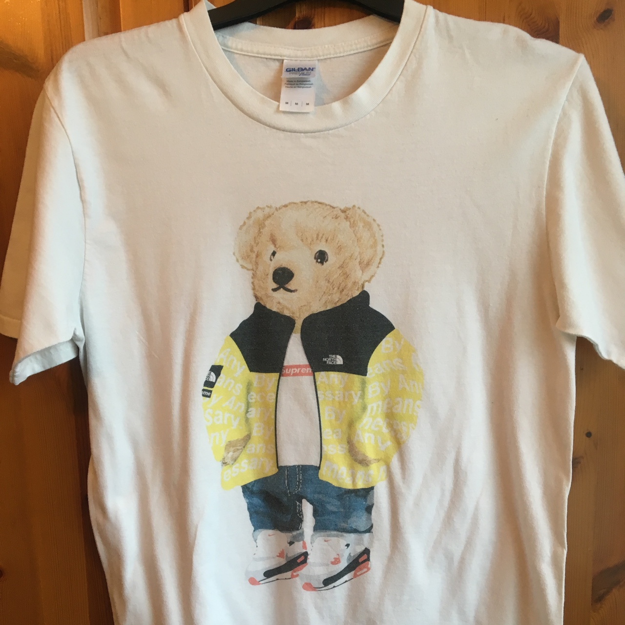 Polo Bear in supreme north face, printed on a Gildan    - Depop
