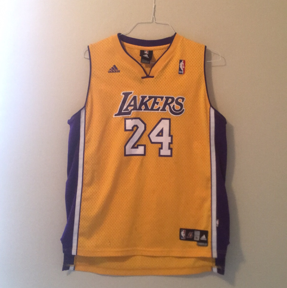 super popular b151c 280d9 Kobe Bryant Lakers home jersey. Size youth large but... - Depop