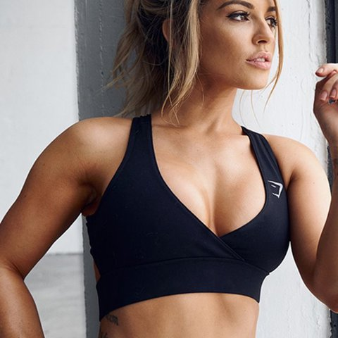 fe519c851a9e8 @sarahsturman. last year. Wellingborough, United Kingdom. limited edition  gymshark x nikki blackketter cross over front open back sports bra in black  size ...