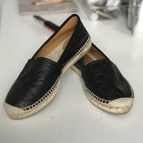 6707e6af74f Black Gucci espadrilles Worn once in excellent condition or - Depop