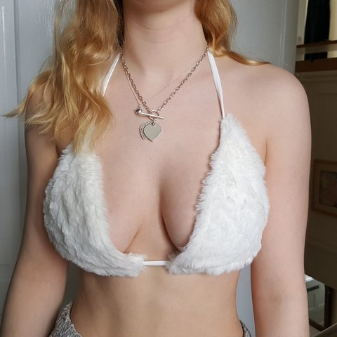 88124cac51 ALSO SELLING IN RED 2 for £15 white fluffy angel bralette up - Depop