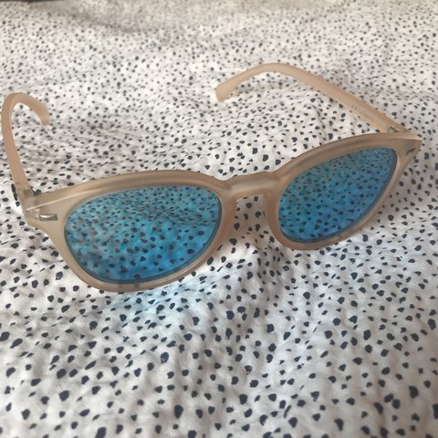 0ce261c217 Le Specs Bandwagon sunglasses in Raw Sugar Pink Ice Blue. on - Depop