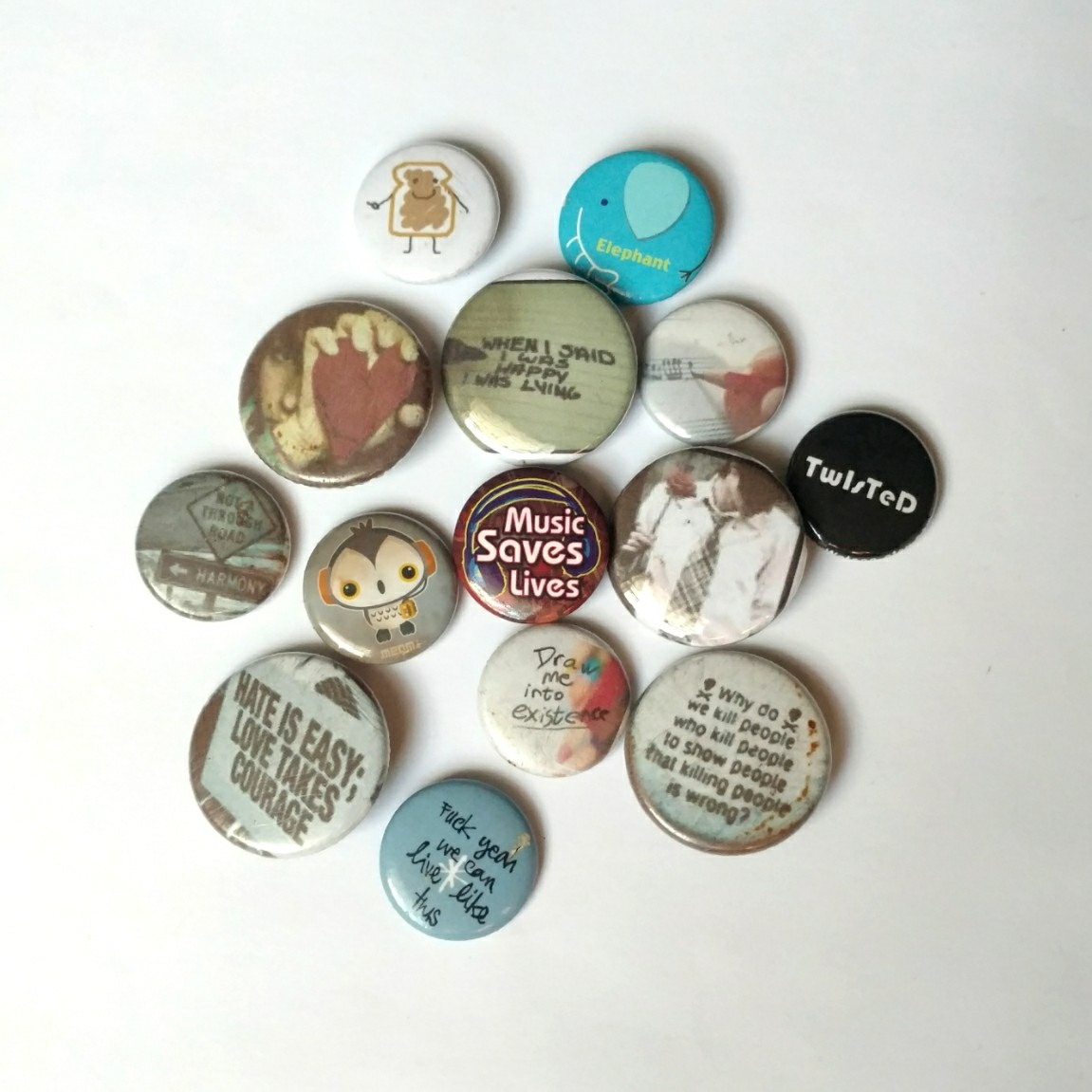 Emo button pin lot from high school! 14 buttons pins    - Depop
