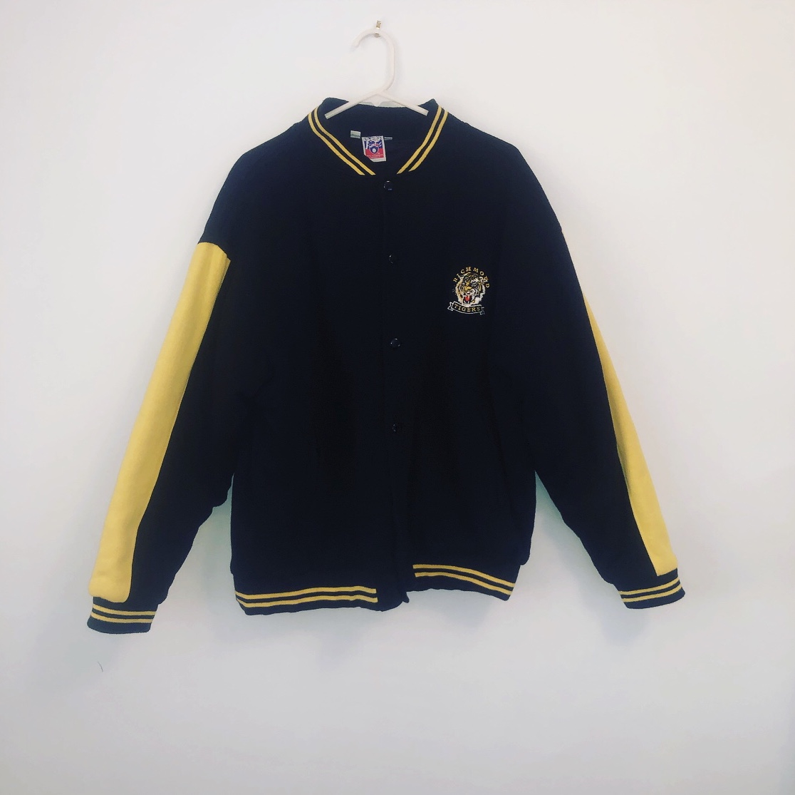 Vintage AFL Richmond Tigers Varsity Bomber Jacket    - Depop